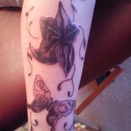 Blomma med fjäril
