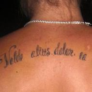 Latinsk text som på svenska är ''min vilja är större än min smärta''