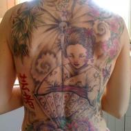 Fin ryggtavla med geisha