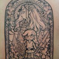 Zelda och Link ryggtavla