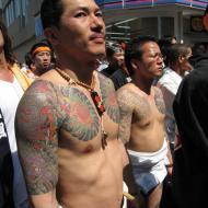 Yakuza bröst och axlar