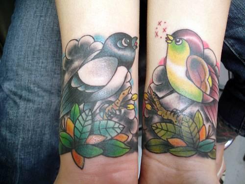 Två rockabilly fåglar title=